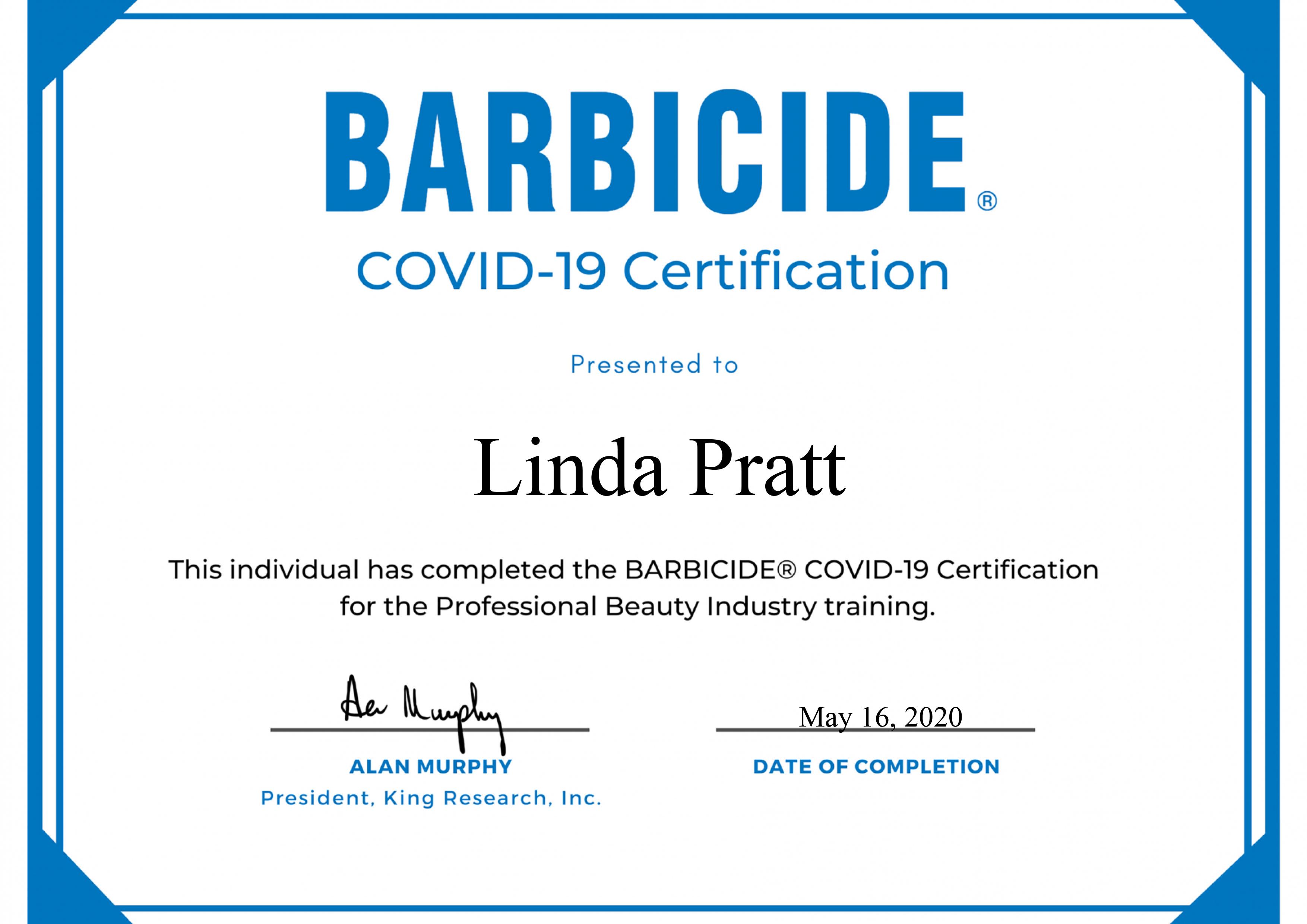 Barbicide Certificate (Covid19) FB
