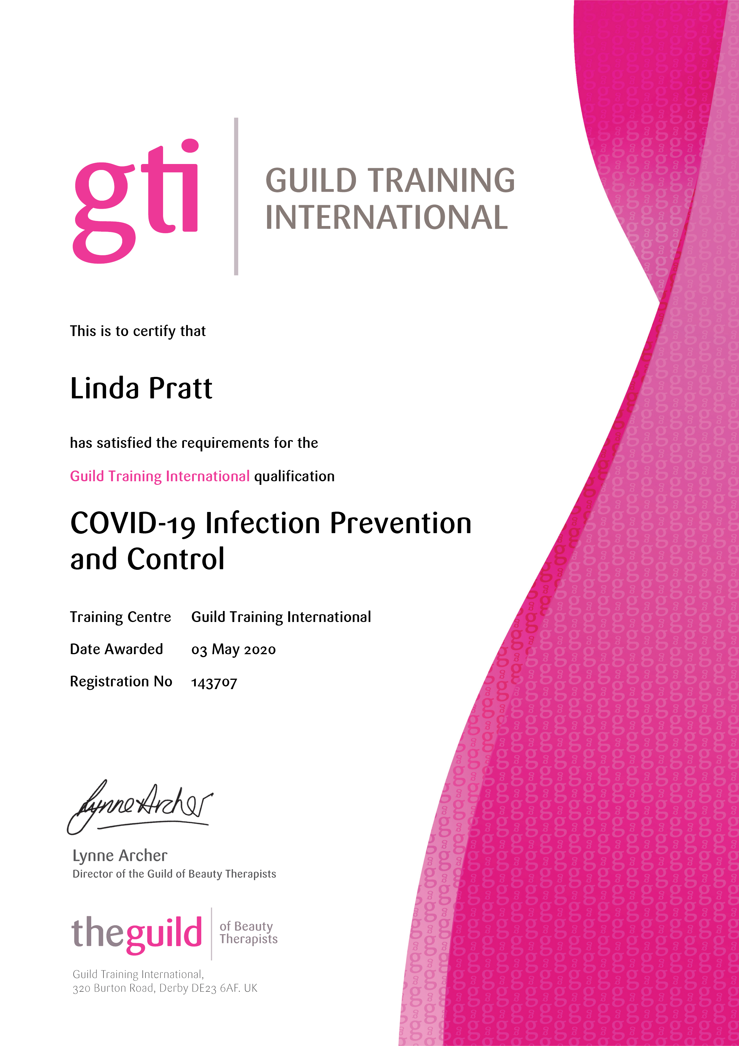 COVID-19InfectionPreventionandControl - GTi Certificate FB